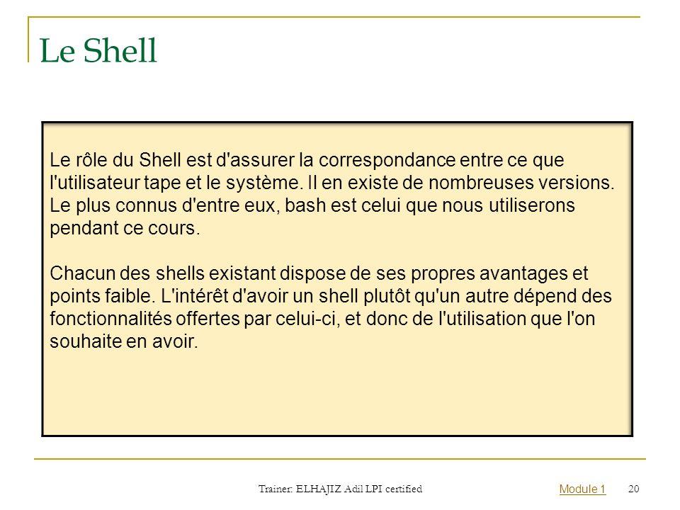 Module 1 Le Shell Trainer: ELHAJIZ Adil LPI certified 20