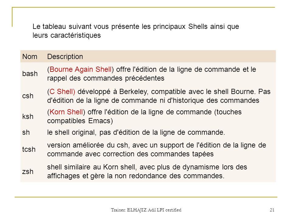 Le tableau suivant vous présente les principaux Shells ainsi que leurs caractéristiques NomDescription bash (Bourne Again Shell) offre l'édition de la