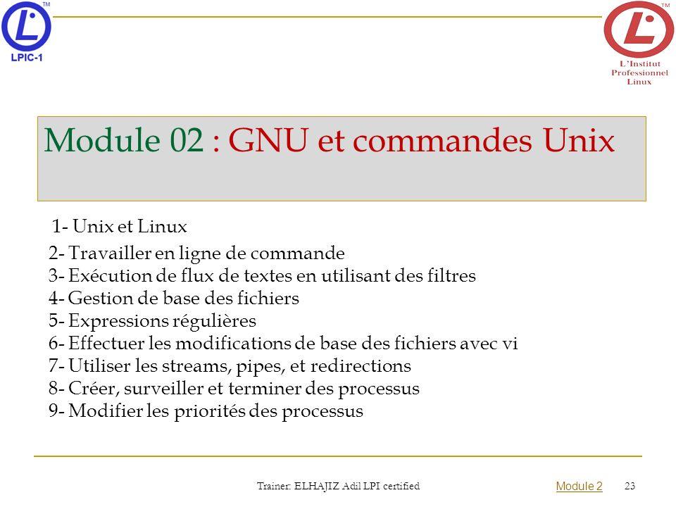 Module 02 : GNU et commandes Unix 1- Unix et Linux 2- Travailler en ligne de commande 3- Exécution de flux de textes en utilisant des filtres 4- Gesti