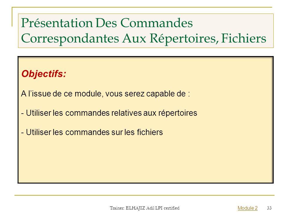 Présentation Des Commandes Correspondantes Aux Répertoires, Fichiers Trainer: ELHAJIZ Adil LPI certified Module 2 33