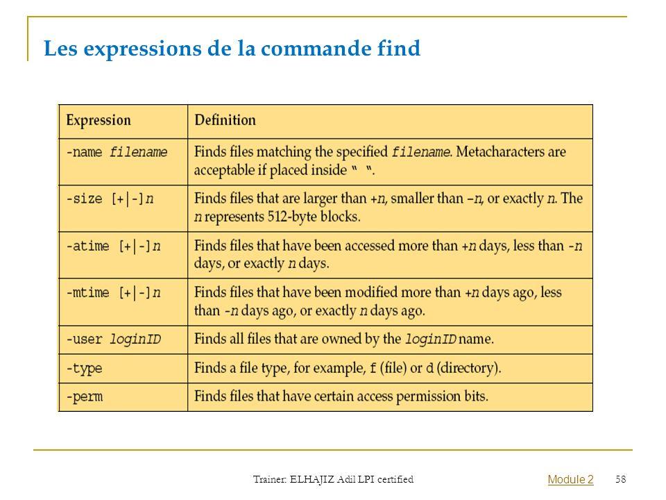 Les expressions de la commande find Trainer: ELHAJIZ Adil LPI certified Module 2 58