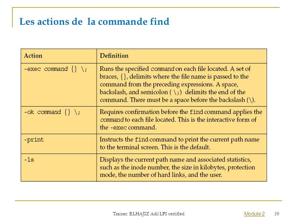 Les actions de la commande find Trainer: ELHAJIZ Adil LPI certified Module 2 59