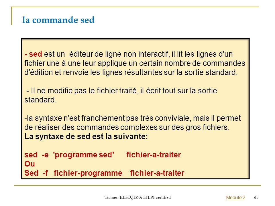 la commande sed Trainer: ELHAJIZ Adil LPI certified Module 2 65