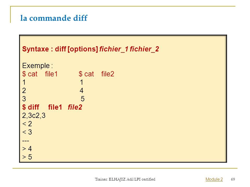 la commande diff Trainer: ELHAJIZ Adil LPI certified Module 2 69