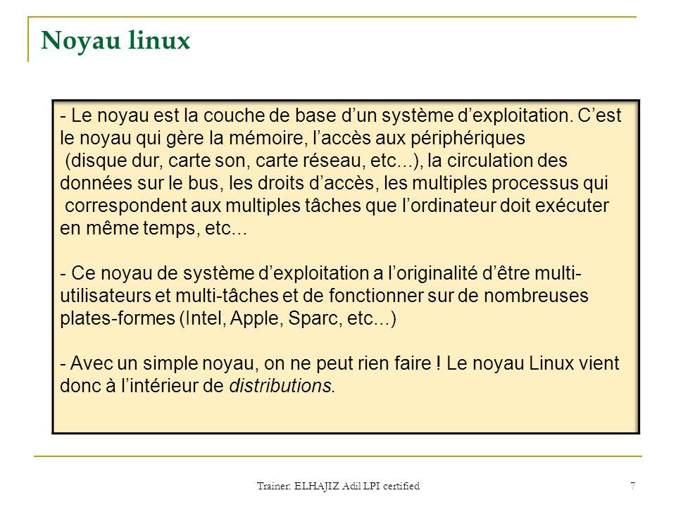Noyau linux Trainer: ELHAJIZ Adil LPI certified 7