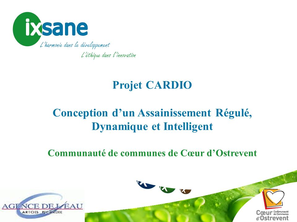 Gestion des sites & sols potentiellement pollués Eau & Environnement Développement durable & Energies Projet CARDIO Conception dun Assainissement Régu