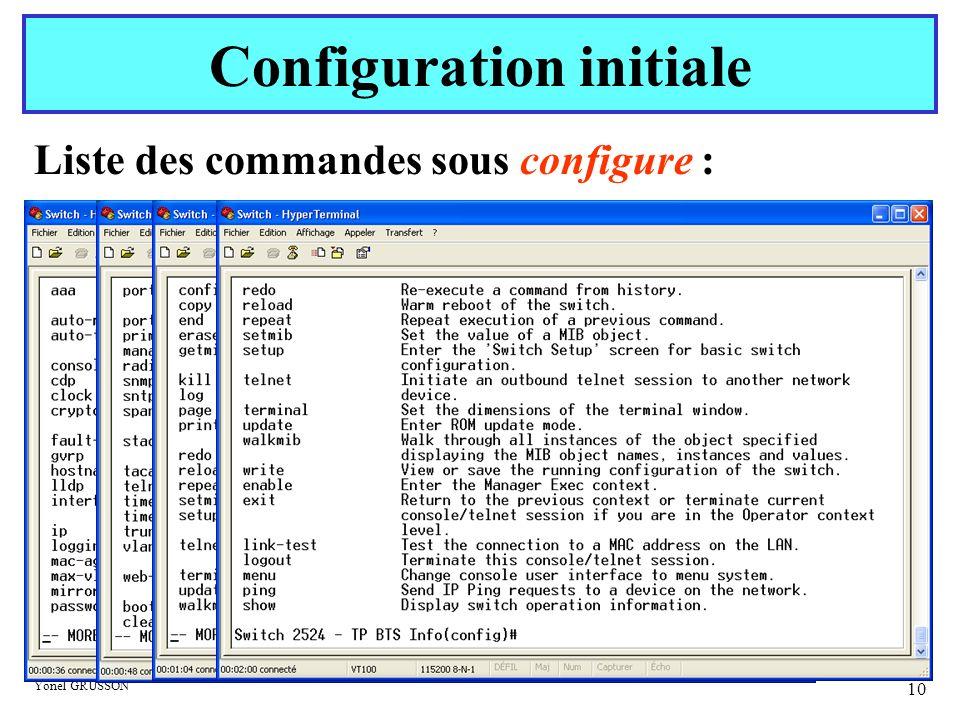 Yonel GRUSSON 10 Liste des commandes sous configure : Configuration initiale
