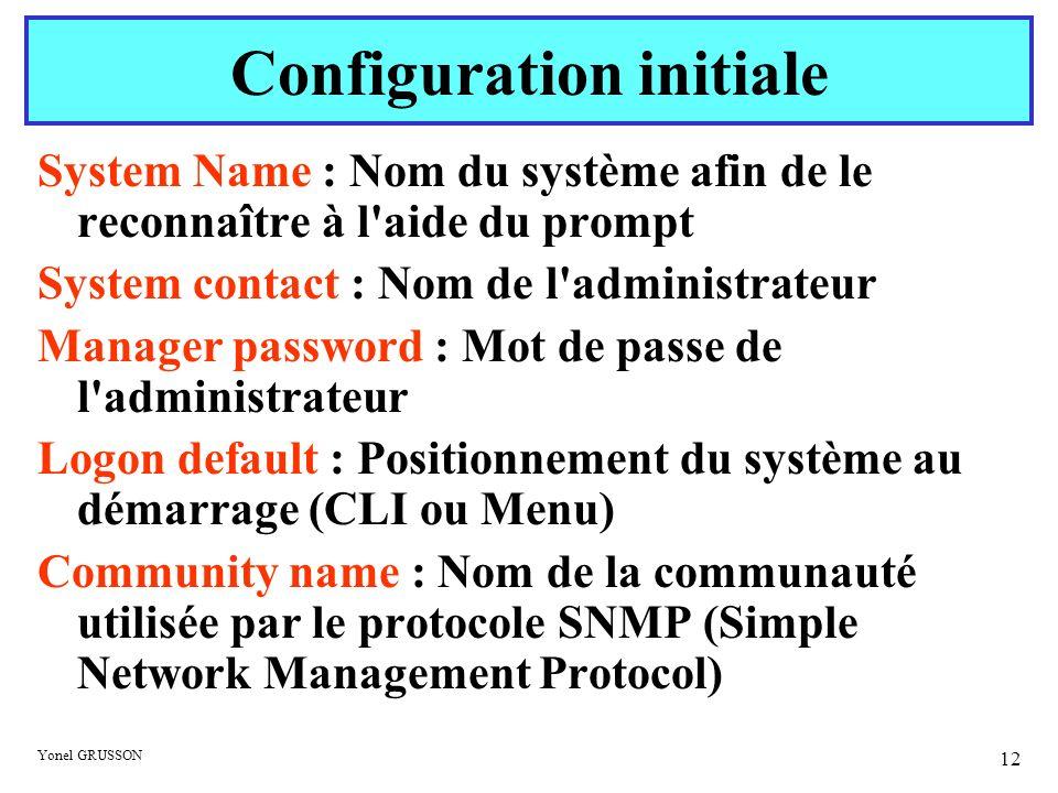 Yonel GRUSSON 12 System Name : Nom du système afin de le reconnaître à l'aide du prompt System contact : Nom de l'administrateur Manager password : Mo