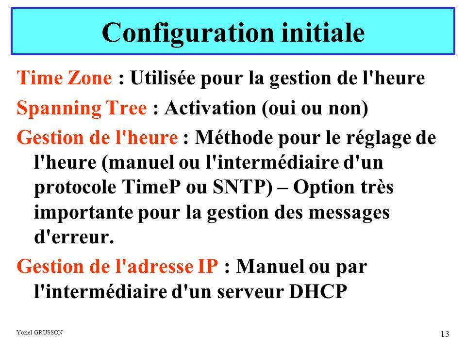 Yonel GRUSSON 13 Time Zone : Utilisée pour la gestion de l'heure Spanning Tree : Activation (oui ou non) Gestion de l'heure : Méthode pour le réglage