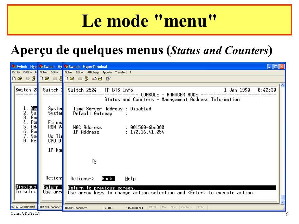 Yonel GRUSSON 16 Aperçu de quelques menus ( Status and Counters ) Le mode