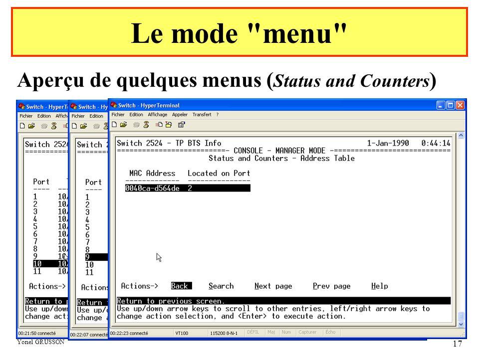 Yonel GRUSSON 17 Aperçu de quelques menus ( Status and Counters ) Le mode