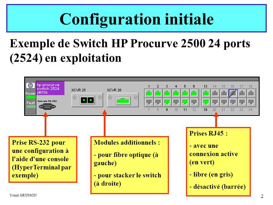 Yonel GRUSSON 3 Configuration initiale A l achat l appareil est configuré : sans mot de passe pour acquérir un adresse auprès d un serveur DHCP La première tâche est de mettre un mot de passe, affecter une adresse IP (fixe statique ou avec un serveur DHCP), configurer l heure et personnaliser l appareil.