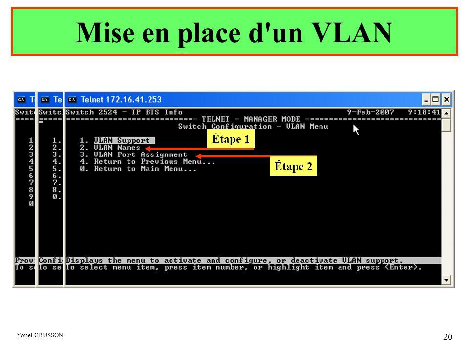 Yonel GRUSSON 20 Mise en place d'un VLAN Étape 1 Étape 2