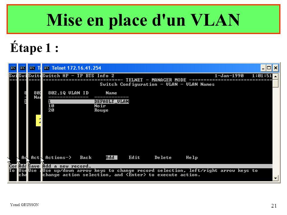 Yonel GRUSSON 21 Étape 1 : Mise en place d'un VLAN 1 – Saisir Numéro du VLAN 2 – Saisir Nom du VLAN 3 Idem avec le VLAN Rouge