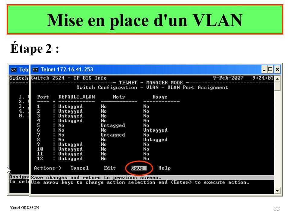 Yonel GRUSSON 22 Étape 2 : Mise en place d'un VLAN