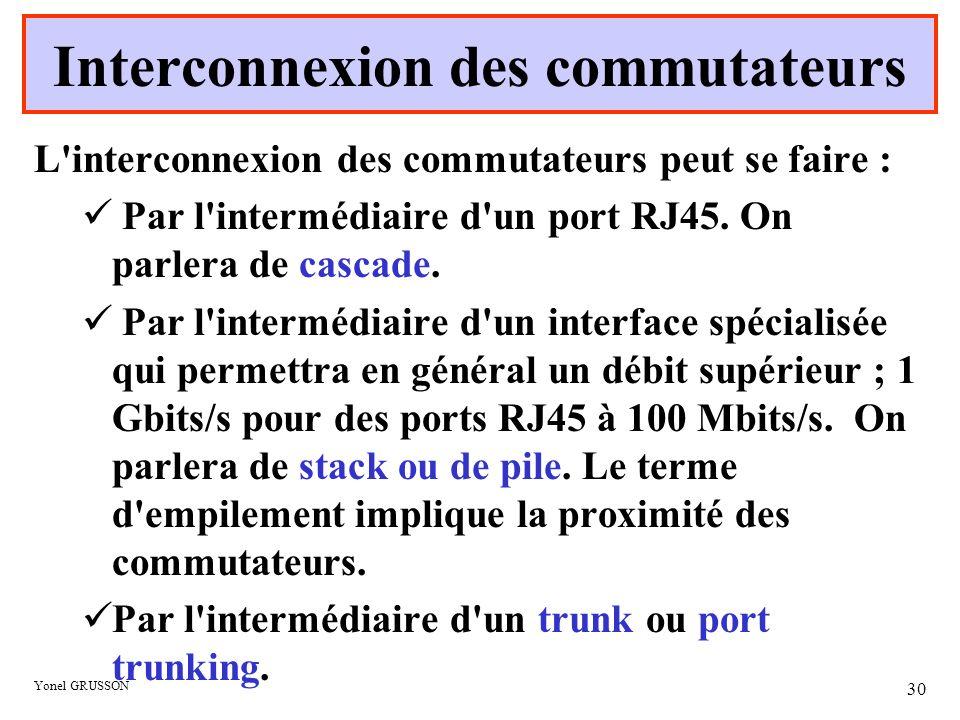 Yonel GRUSSON 30 L'interconnexion des commutateurs peut se faire : Par l'intermédiaire d'un port RJ45. On parlera de cascade. Par l'intermédiaire d'un