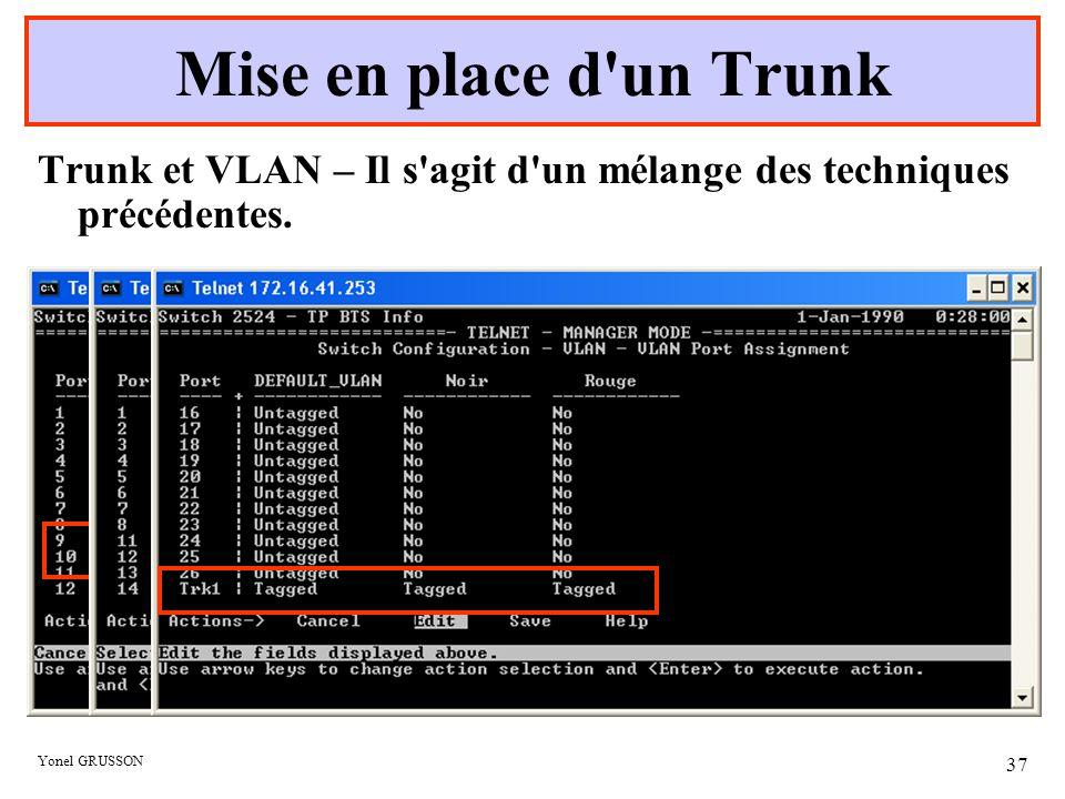Yonel GRUSSON 37 Trunk et VLAN – Il s'agit d'un mélange des techniques précédentes. Mise en place d'un Trunk Les ports 9 et 10 affectés au trunk dispa