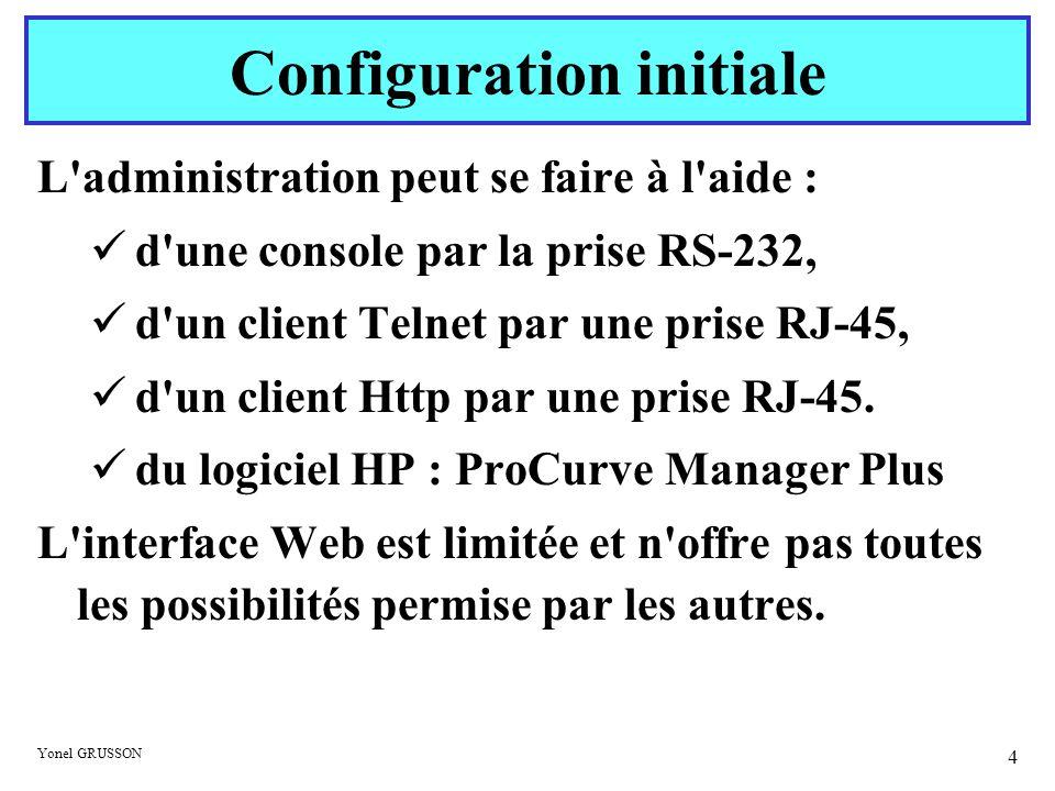 Yonel GRUSSON 4 L'administration peut se faire à l'aide : d'une console par la prise RS-232, d'un client Telnet par une prise RJ-45, d'un client Http