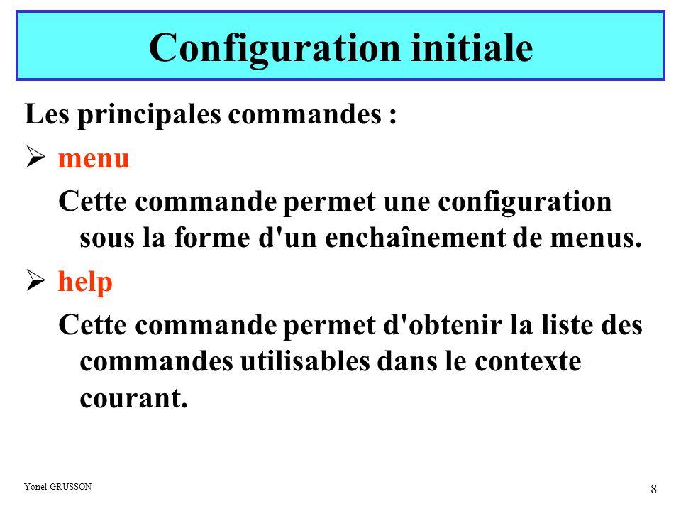 Yonel GRUSSON 8 Les principales commandes : menu Cette commande permet une configuration sous la forme d'un enchaînement de menus. help Cette commande