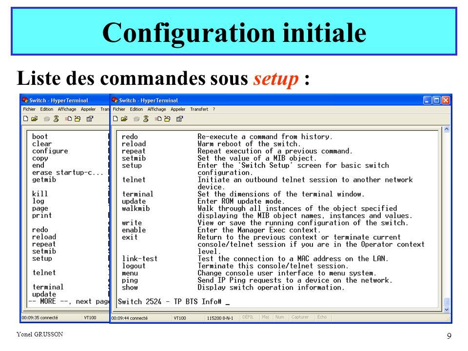 Yonel GRUSSON 9 Liste des commandes sous setup : Configuration initiale