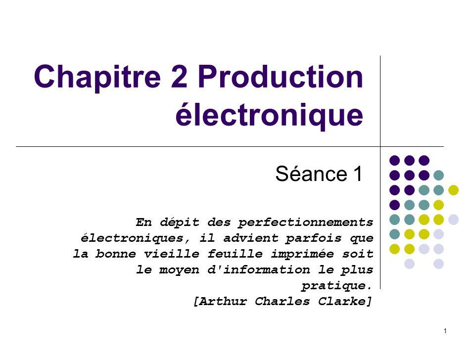 1 Chapitre 2 Production électronique Séance 1 En dépit des perfectionnements électroniques, il advient parfois que la bonne vieille feuille imprimée s