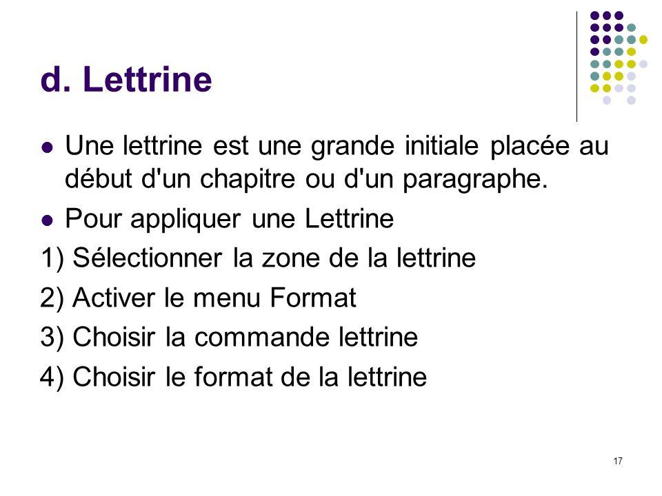 17 d. Lettrine Une lettrine est une grande initiale placée au début d'un chapitre ou d'un paragraphe. Pour appliquer une Lettrine 1) Sélectionner la z