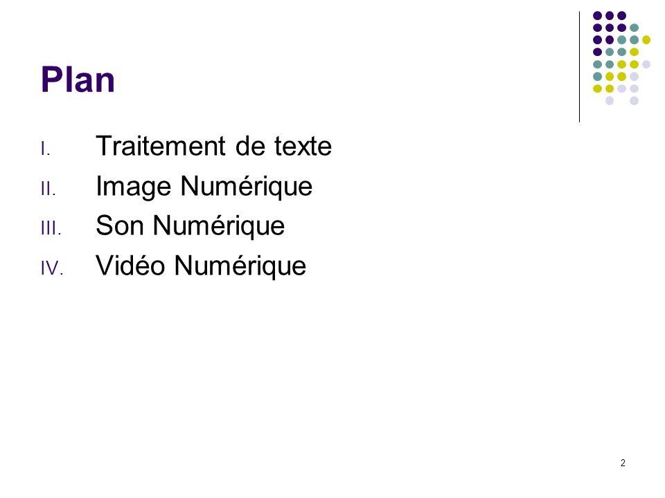 2 Plan I. Traitement de texte II. Image Numérique III. Son Numérique IV. Vidéo Numérique
