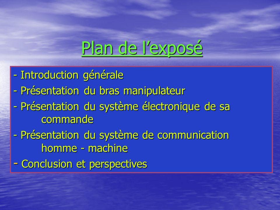 Plan de lexposé - Introduction générale - Présentation du bras manipulateur - Présentation du système électronique de sa commande - Présentation du sy