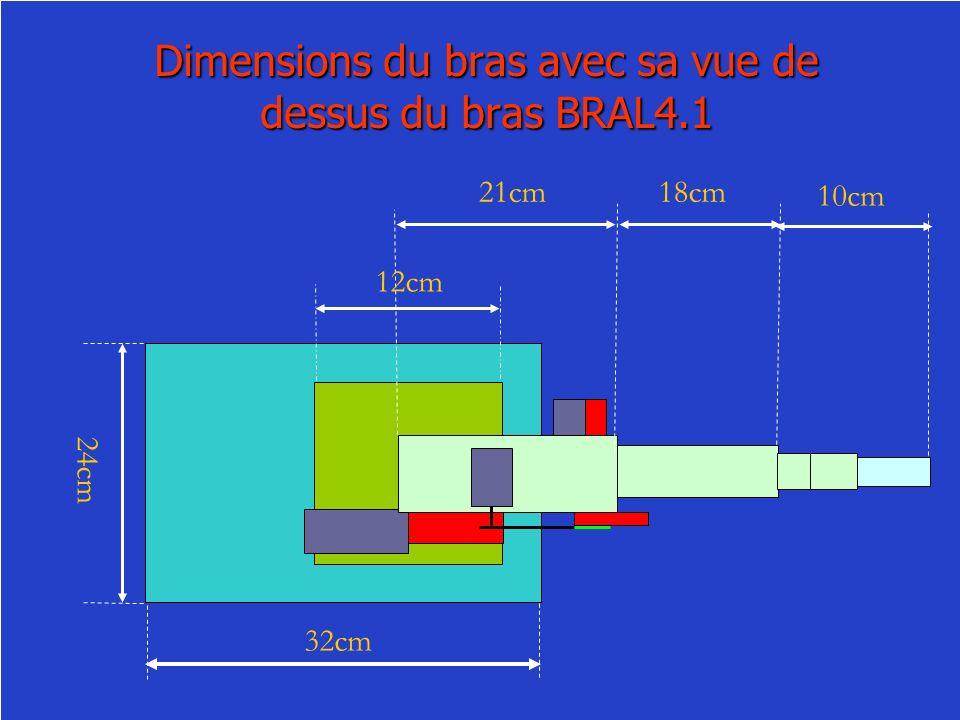 Dimensions du bras avec sa vue de dessus du bras BRAL4.1 21cm18cm 10cm 12cm 24cm 32cm
