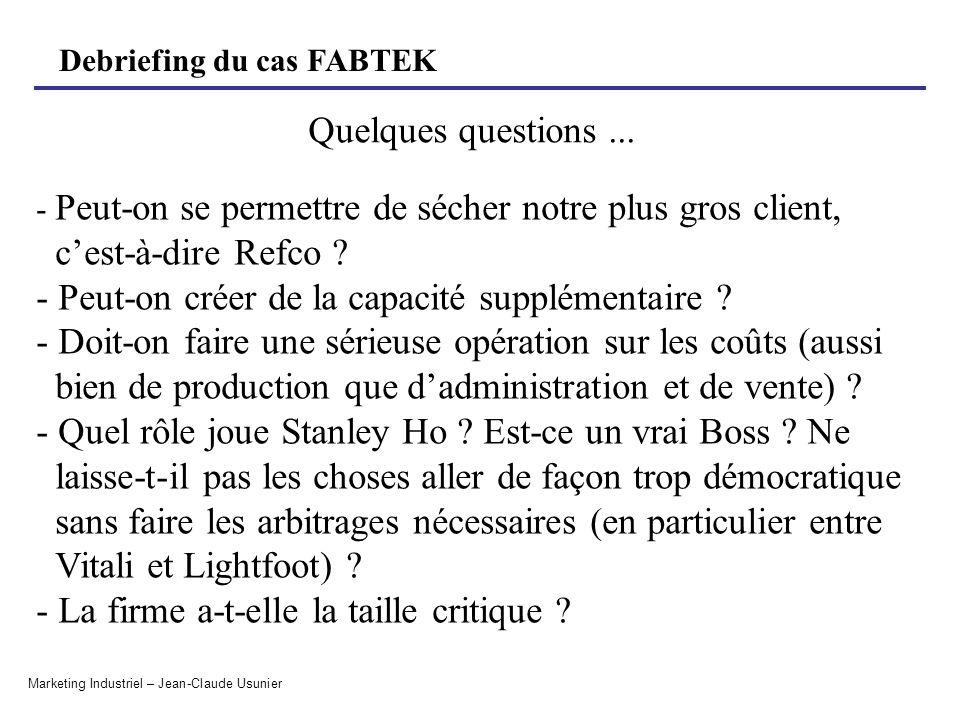 Debriefing du cas FABTEK Marketing Industriel – Jean-Claude Usunier - Peut-on se permettre de sécher notre plus gros client, cest-à-dire Refco ? - Peu
