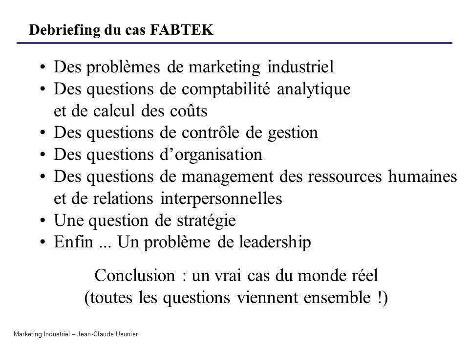 Debriefing du cas FABTEK Marketing Industriel – Jean-Claude Usunier Critère de sélection des commandes 1.Quels critères doivent être pris en considération lors du choix des commandes .