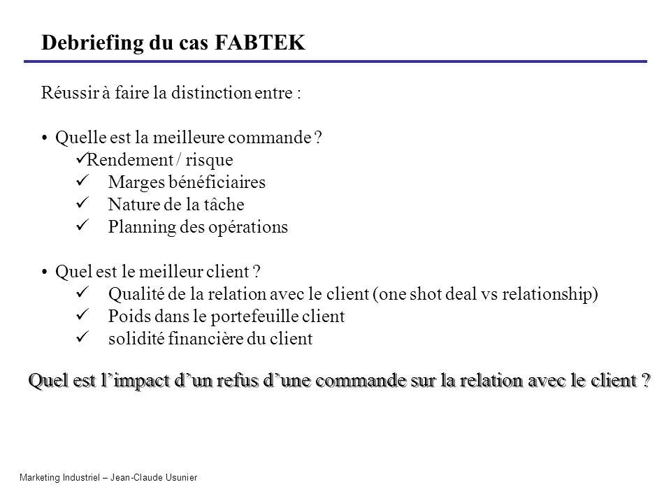 Debriefing du cas FABTEK Marketing Industriel – Jean-Claude Usunier Réussir à faire la distinction entre : Quelle est la meilleure commande ? Rendemen