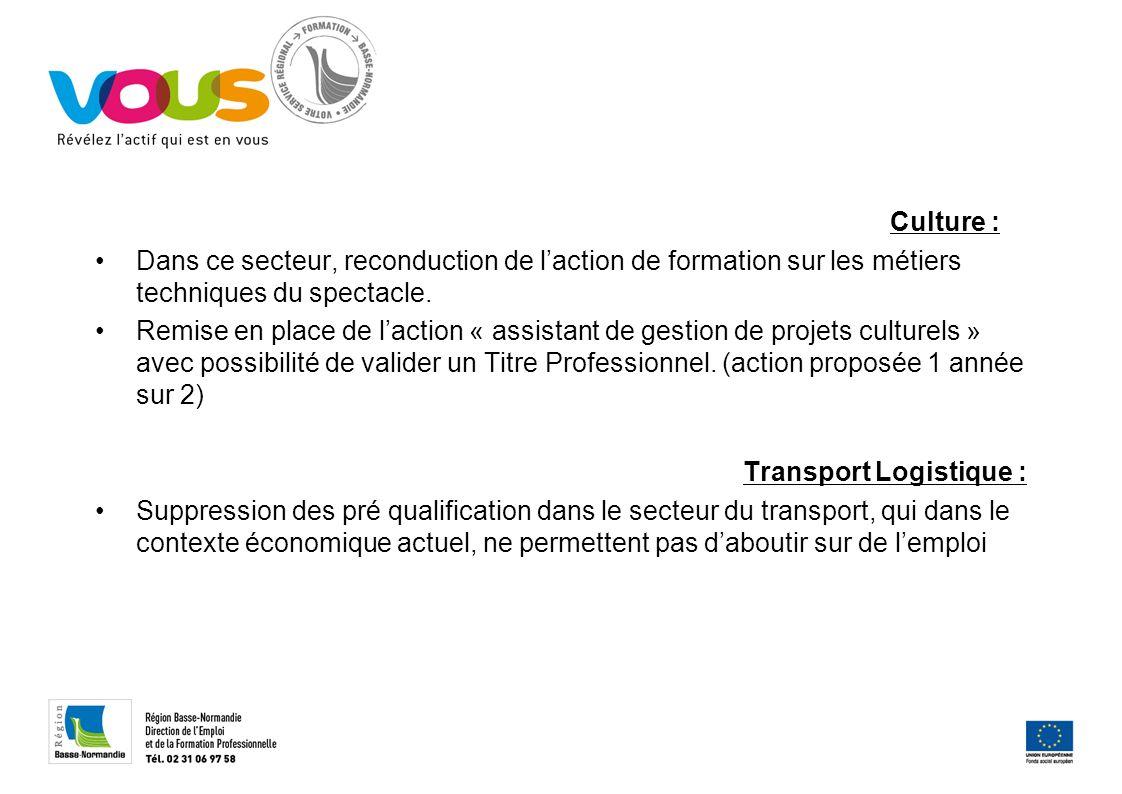 Culture : Dans ce secteur, reconduction de laction de formation sur les métiers techniques du spectacle.