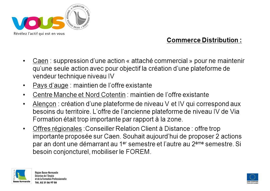 Commerce Distribution : Caen : suppression dune action « attaché commercial » pour ne maintenir quune seule action avec pour objectif la création dune
