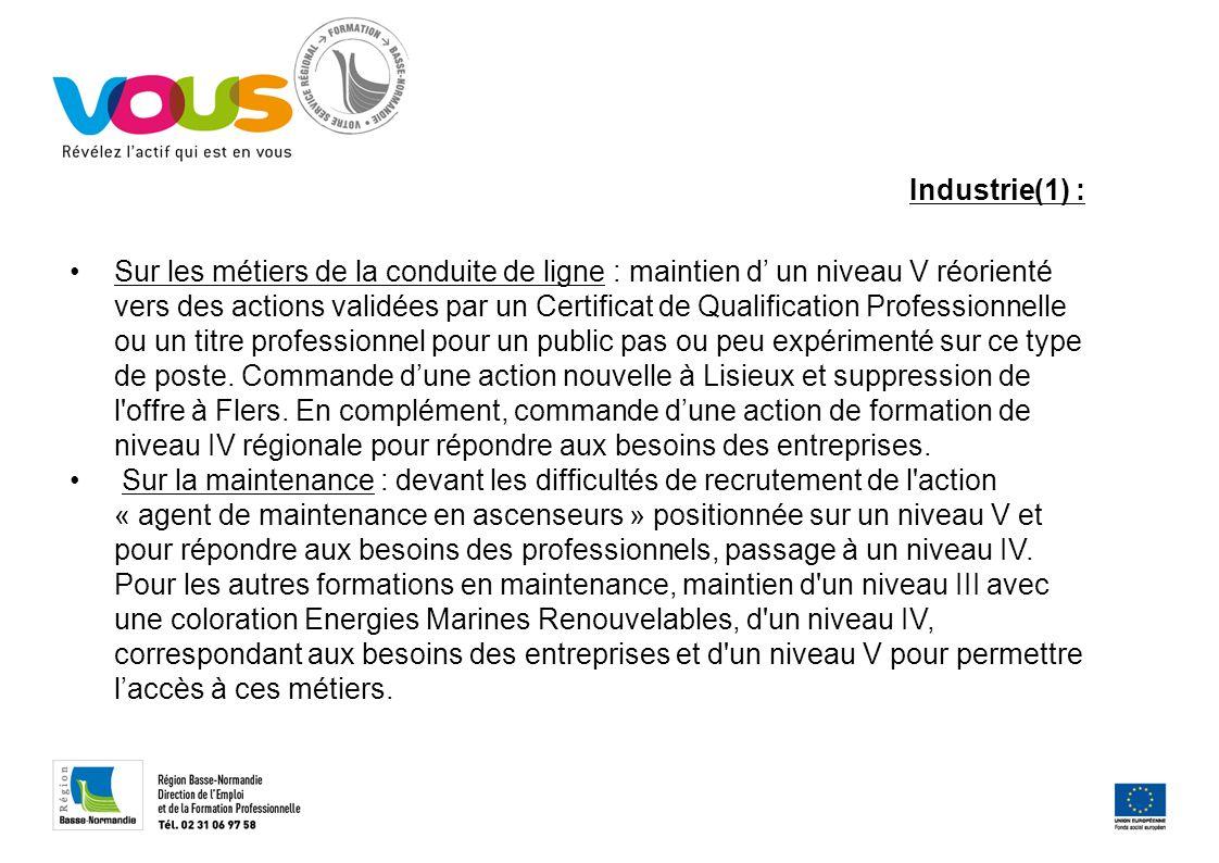 Industrie(1) : Sur les métiers de la conduite de ligne : maintien d un niveau V réorienté vers des actions validées par un Certificat de Qualification
