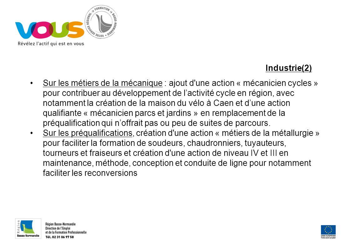 Industrie(2) Sur les métiers de la mécanique : ajout d'une action « mécanicien cycles » pour contribuer au développement de lactivité cycle en région,