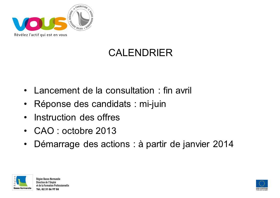 CALENDRIER Lancement de la consultation : fin avril Réponse des candidats : mi-juin Instruction des offres CAO : octobre 2013 Démarrage des actions : à partir de janvier 2014