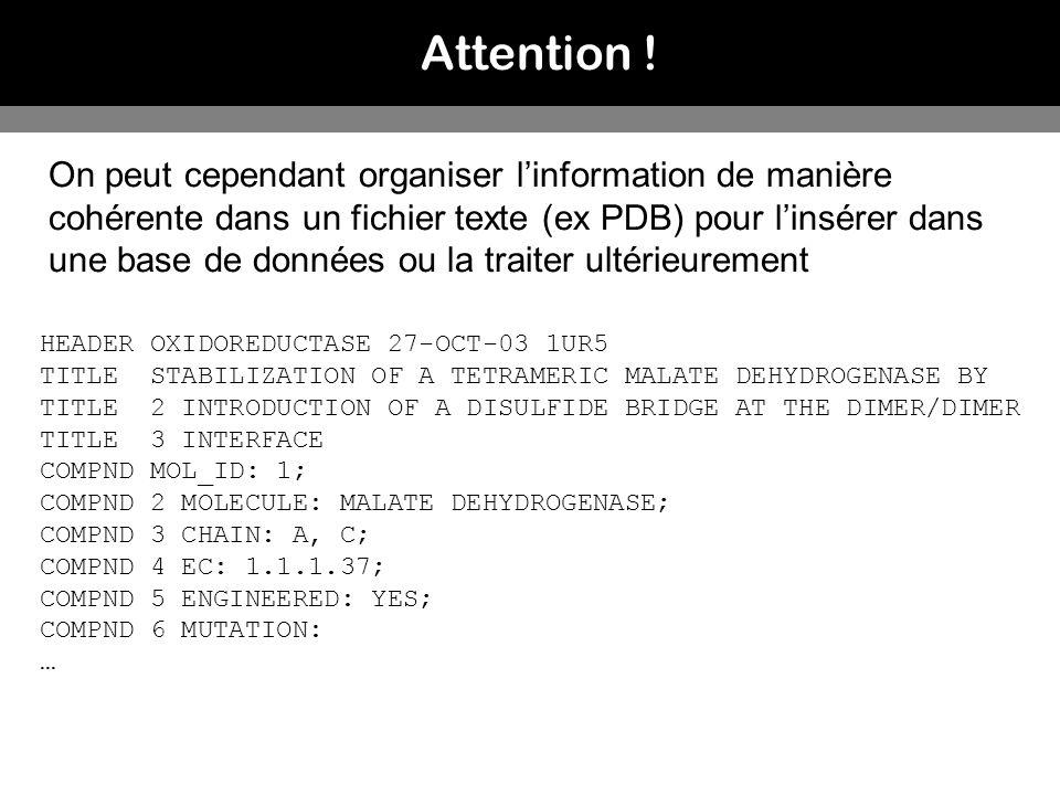 Attention ! On peut cependant organiser linformation de manière cohérente dans un fichier texte (ex PDB) pour linsérer dans une base de données ou la