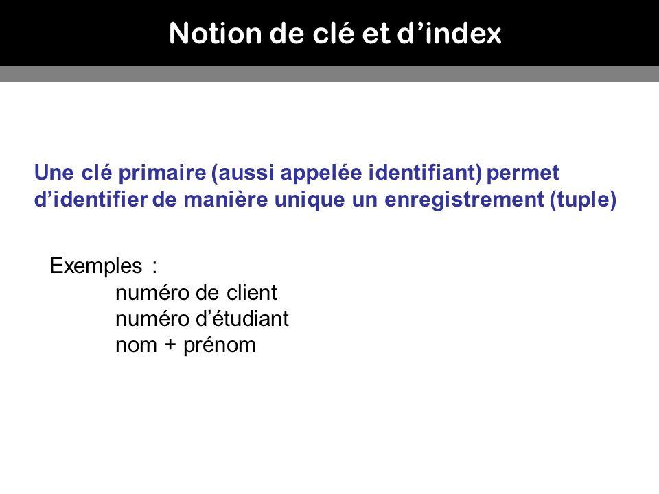 Notion de clé et dindex Une clé primaire (aussi appelée identifiant) permet didentifier de manière unique un enregistrement (tuple) Exemples : numéro