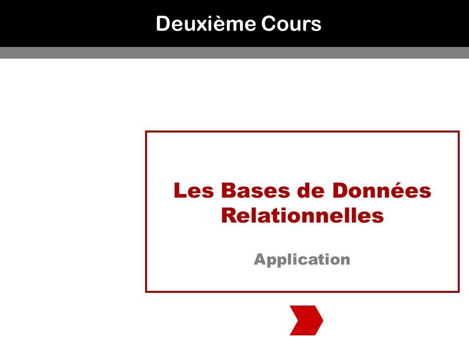Deuxième Cours Les Bases de Données Relationnelles Application