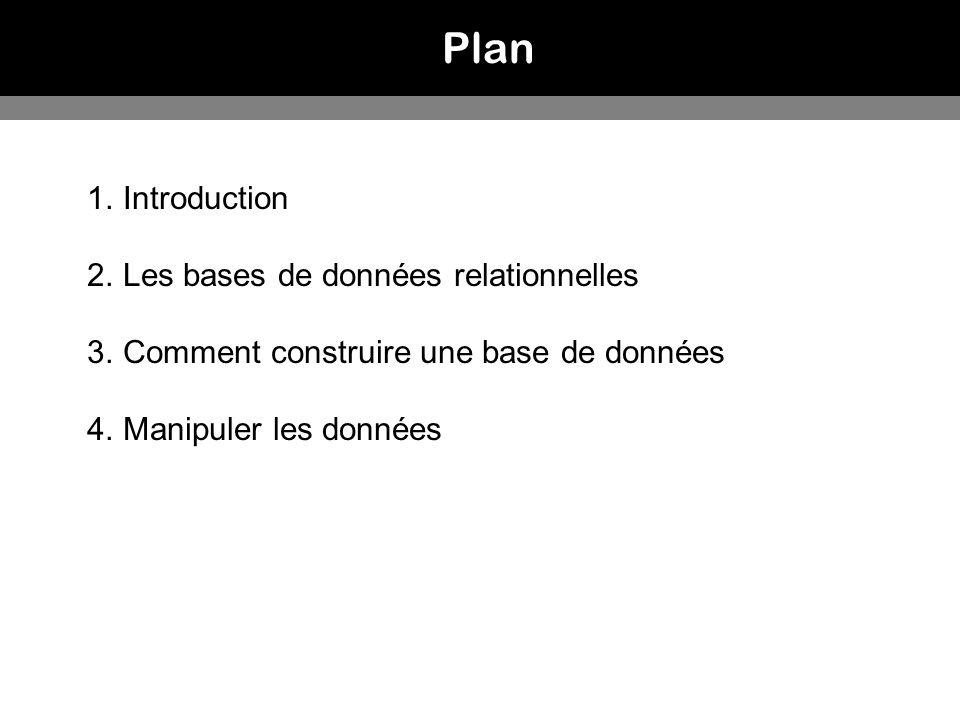 Plan 1.Introduction 2.Les bases de données relationnelles 3.Comment construire une base de données 4.Manipuler les données