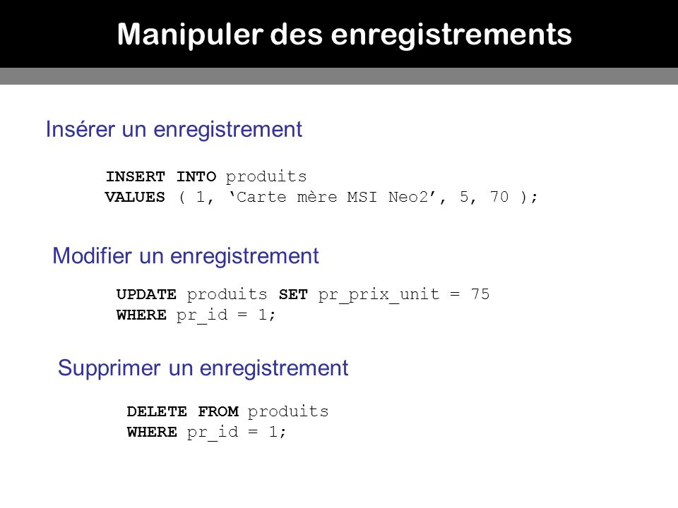 Manipuler des enregistrements INSERT INTO produits VALUES ( 1, Carte mère MSI Neo2, 5, 70 ); UPDATE produits SET pr_prix_unit = 75 WHERE pr_id = 1; DE