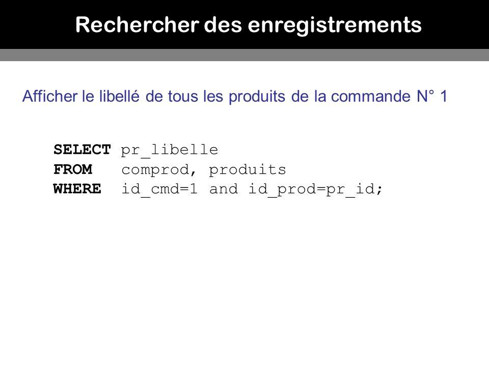 Rechercher des enregistrements Afficher le libellé de tous les produits de la commande N° 1 SELECT pr_libelle FROM comprod, produits WHERE id_cmd=1 an
