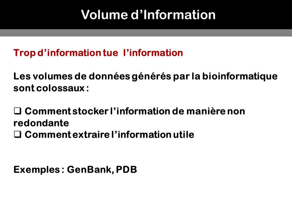 Volume dInformation Trop dinformation tue linformation Les volumes de données générés par la bioinformatique sont colossaux : Comment stocker linforma