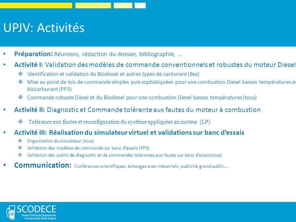 UPJV: Activités Préparation : Réunions, rédaction du dossier, bibliographie,...