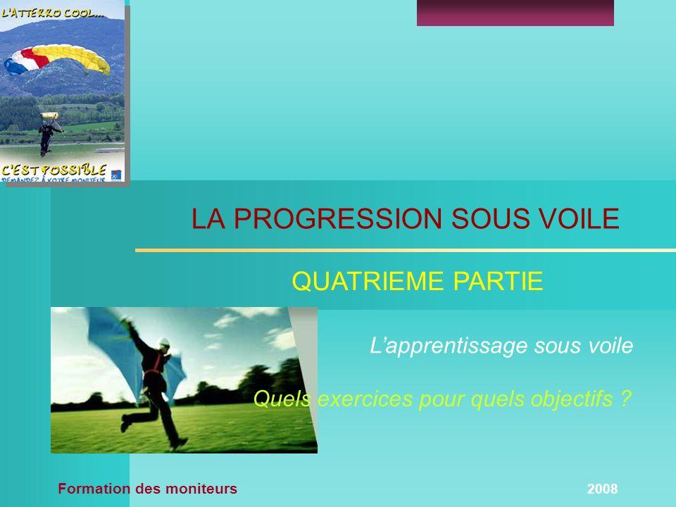 Formation des moniteurs 2008 QUATRIEME PARTIE LA PROGRESSION SOUS VOILE Lapprentissage sous voile Quels exercices pour quels objectifs ?