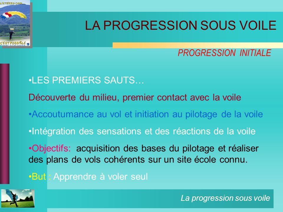 La progression sous voile LES PREMIERS SAUTS… Découverte du milieu, premier contact avec la voile Accoutumance au vol et initiation au pilotage de la