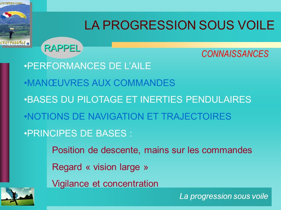 La progression sous voile CONNAISSANCES PERFORMANCES DE LAILE MANŒUVRES AUX COMMANDES BASES DU PILOTAGE ET INERTIES PENDULAIRES NOTIONS DE NAVIGATION