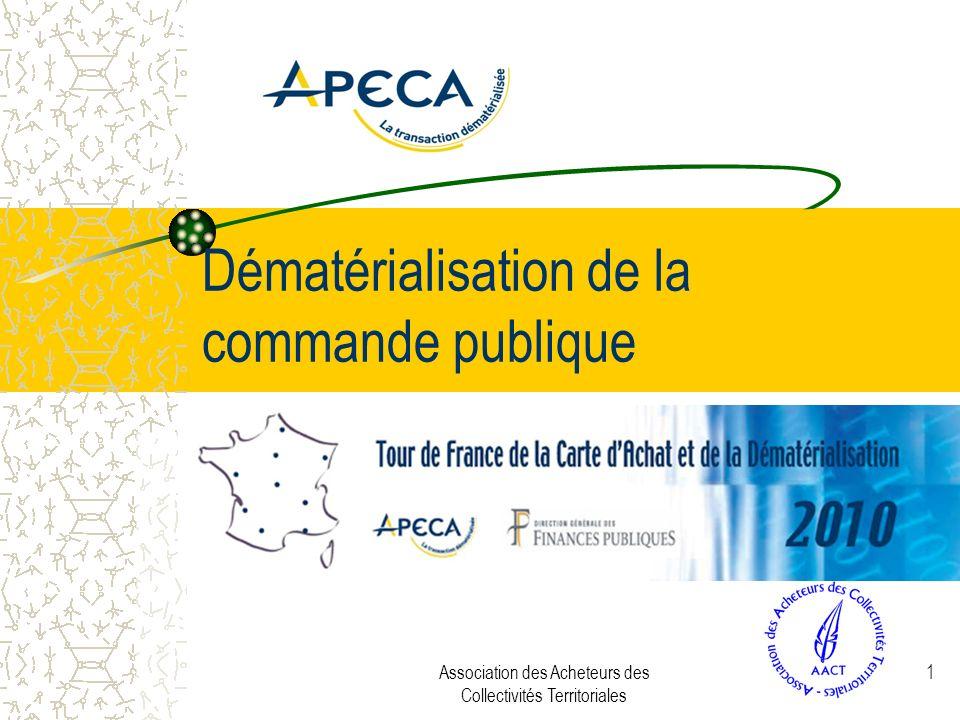 Association des Acheteurs des Collectivités Territoriales 1 Dématérialisation de la commande publique