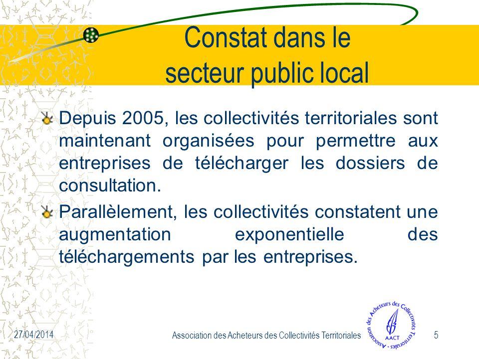 27/04/2014 Association des Acheteurs des Collectivités Territoriales5 Constat dans le secteur public local Depuis 2005, les collectivités territoriales sont maintenant organisées pour permettre aux entreprises de télécharger les dossiers de consultation.